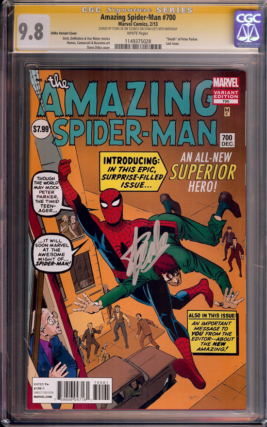 Amazing Spider-Man #700 CGC 9.8 w CGC Signature SERIES