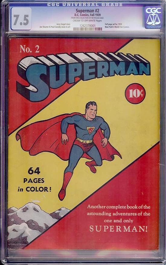 Superman #2 CGC 7.5 cr/ow Nicolas Cage Collection