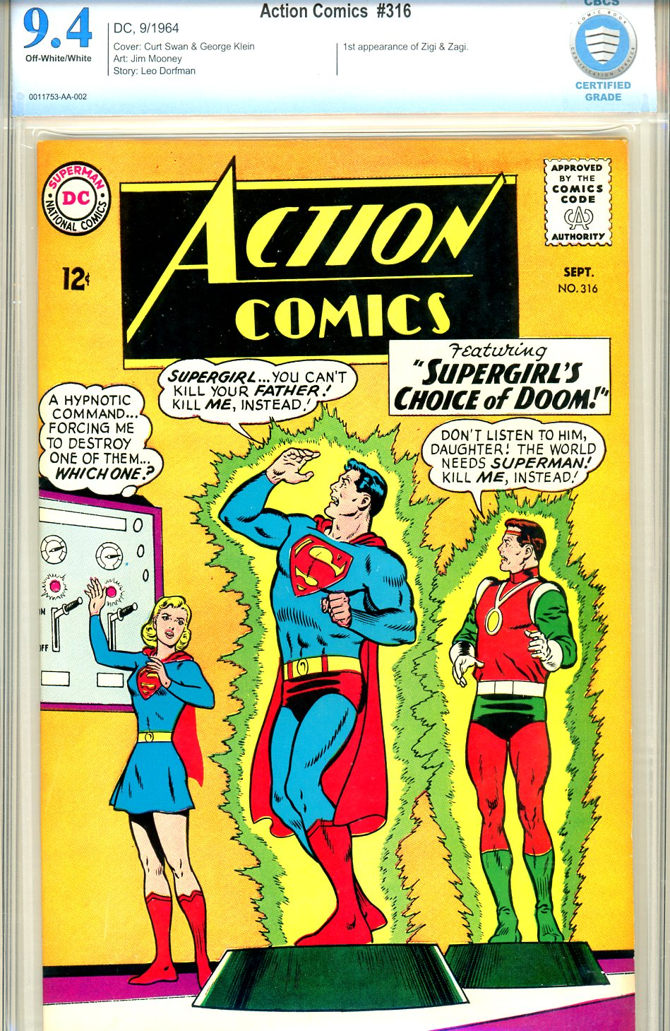 Action Comics #314 CBCS 9.4 ow/w