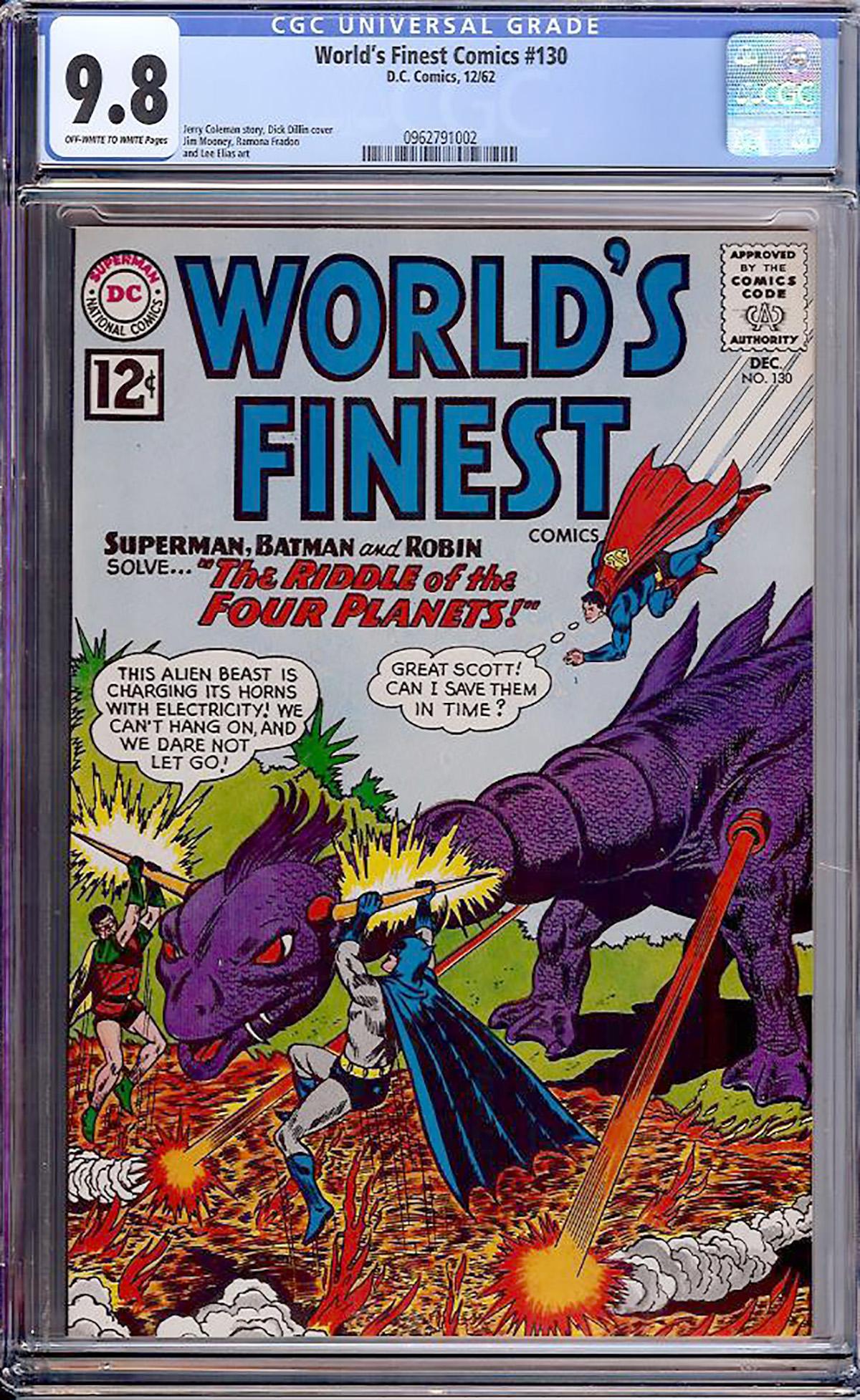 World's Finest Comics #130 CGC 9.8 ow/w