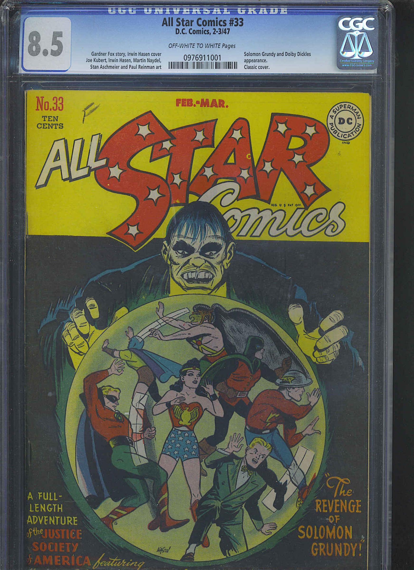 All Star Comics #33 CGC 8.5 ow/w