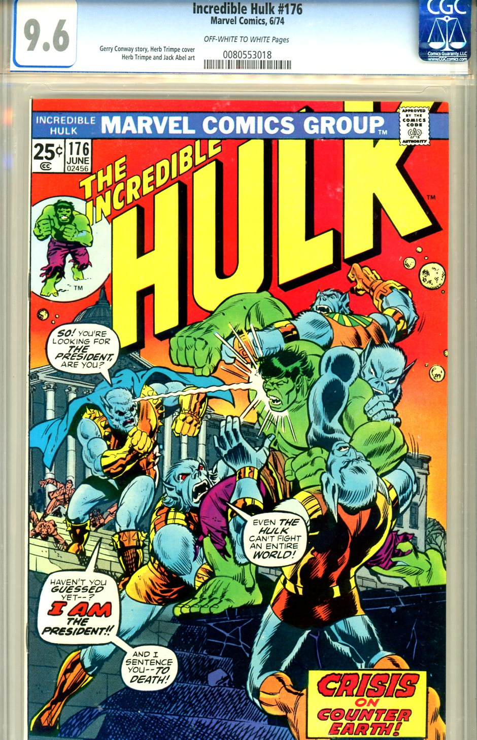 Incredible Hulk #176 CGC 9.6 ow/w