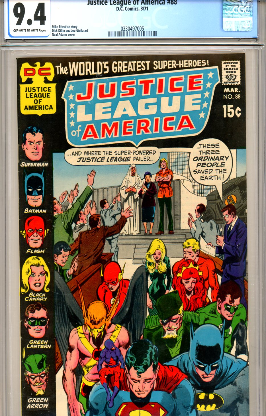 Justice League of America #88 CGC 9.4 ow/w