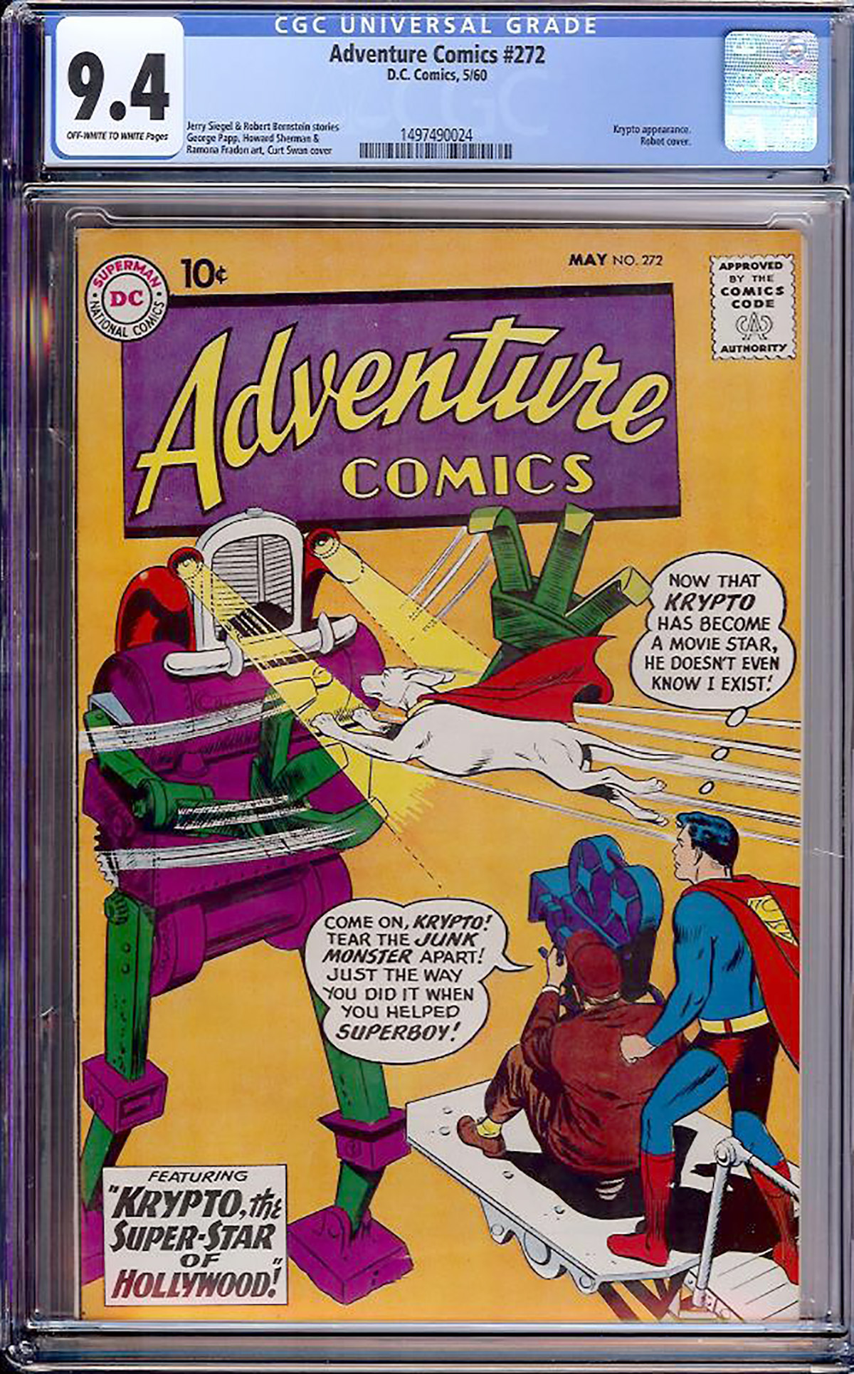 Adventure Comics #272 CGC 9.4 ow/w