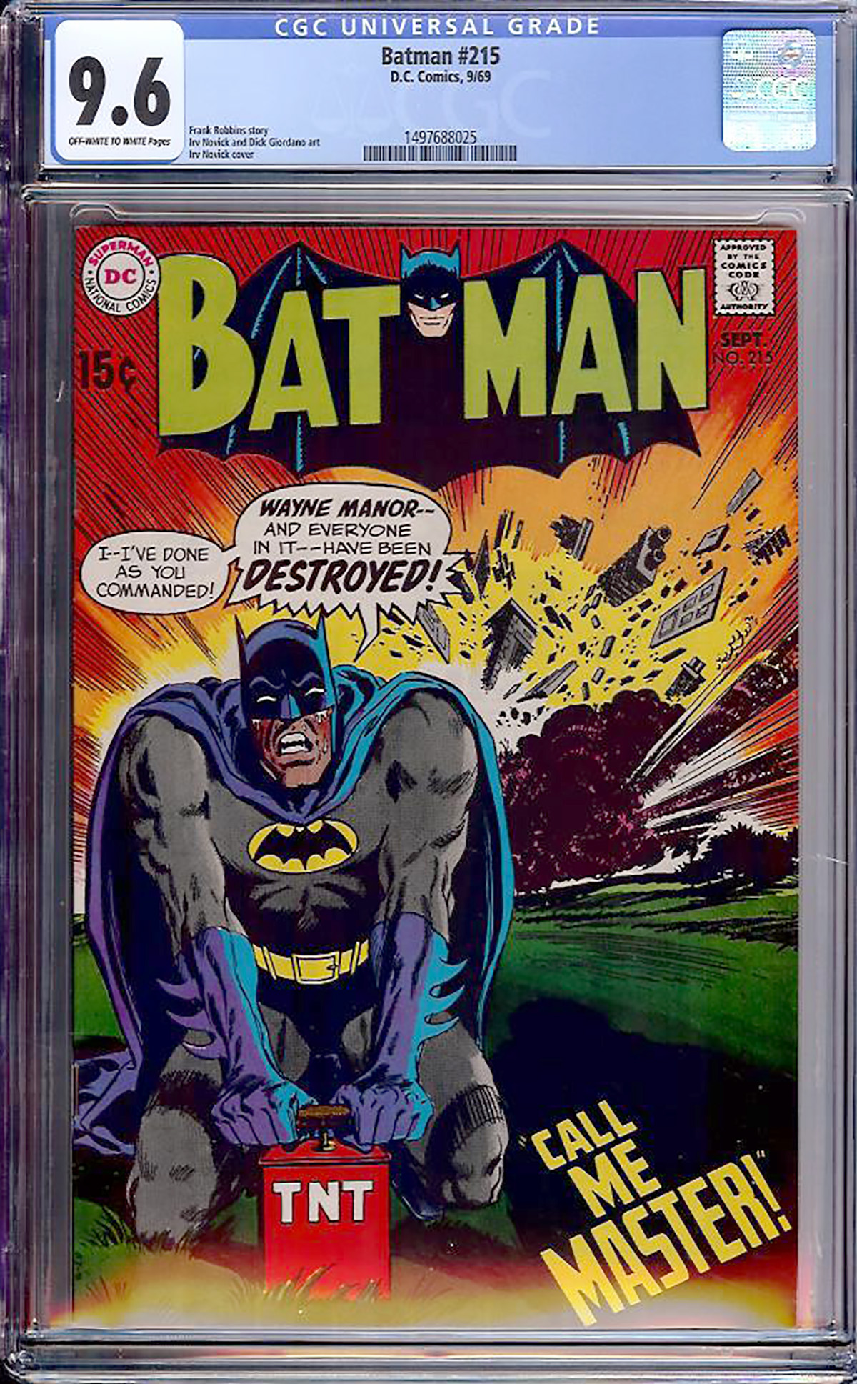 Batman #215 CGC 9.6 ow/w