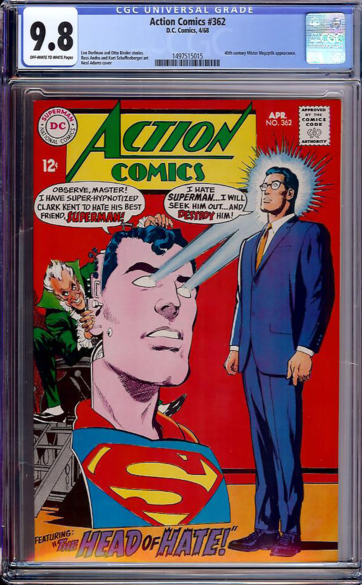Action Comics #362 CGC 9.8 ow/w