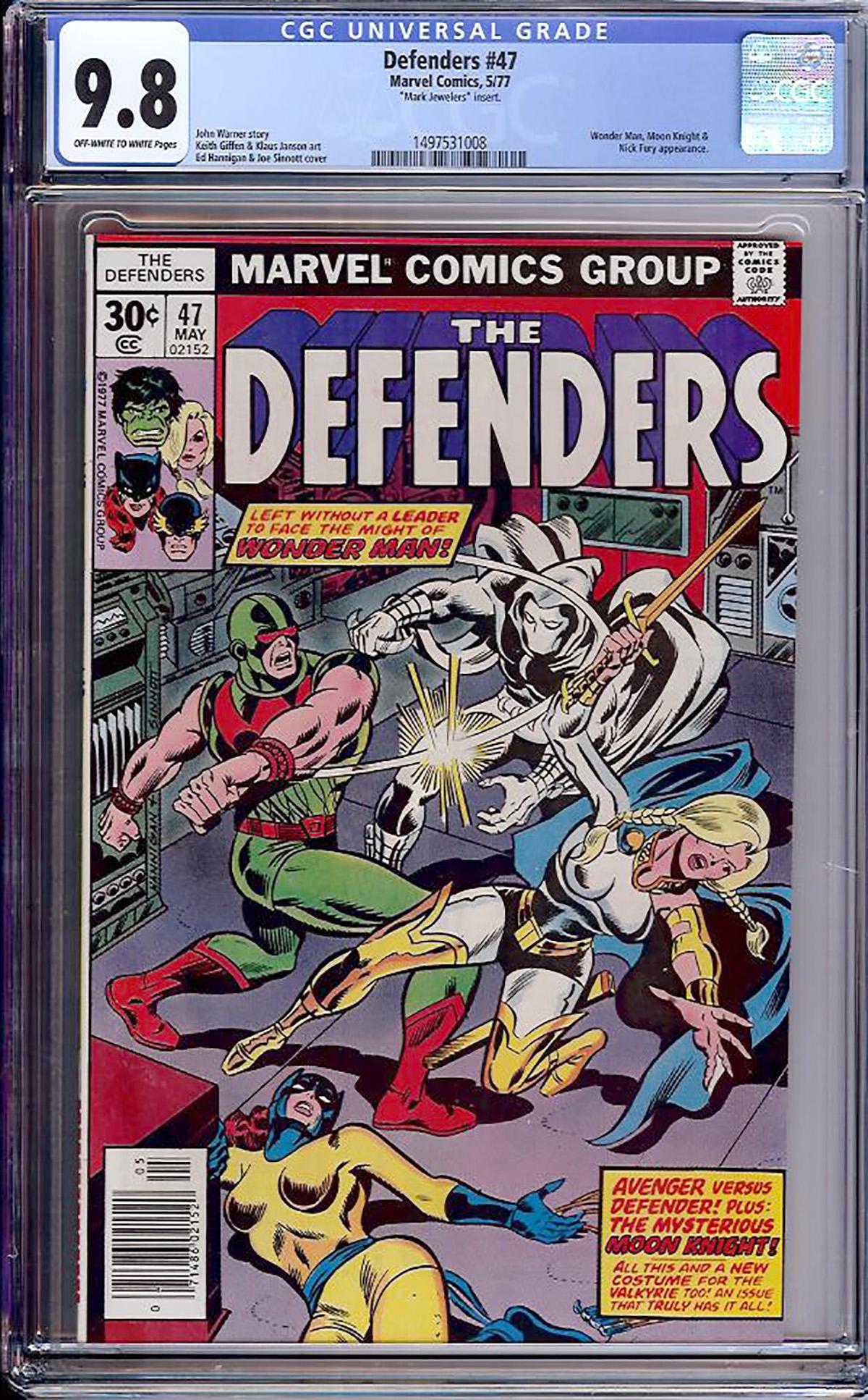 Defenders #47 CGC 9.8 ow/w