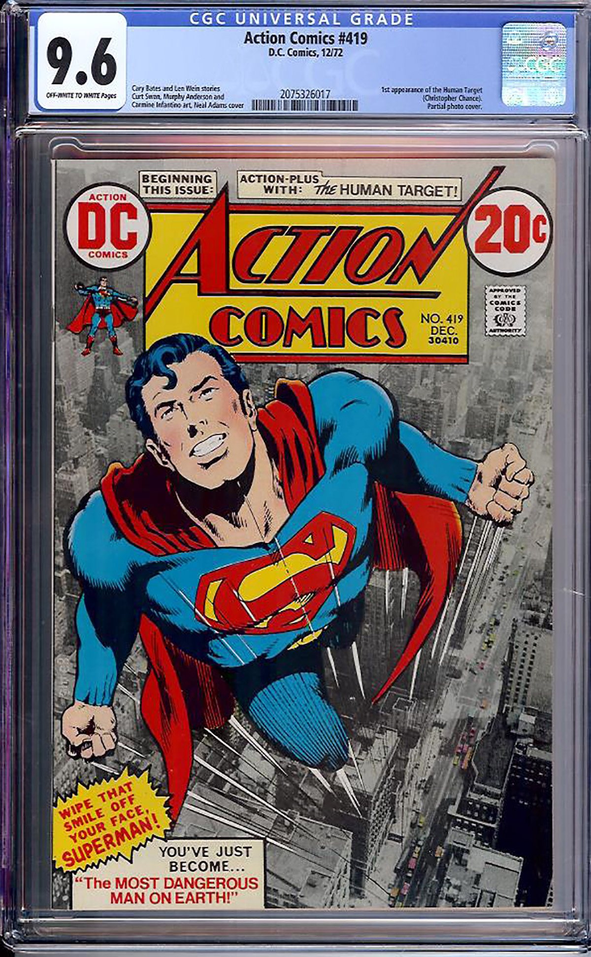 Action Comics #419 CGC 9.6 ow/w Davie Collection