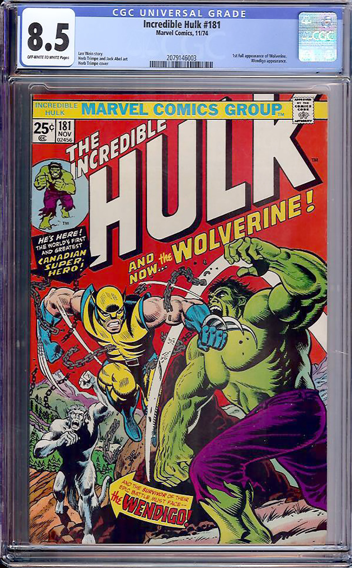 Incredible Hulk #181 CGC 8.5 ow/w