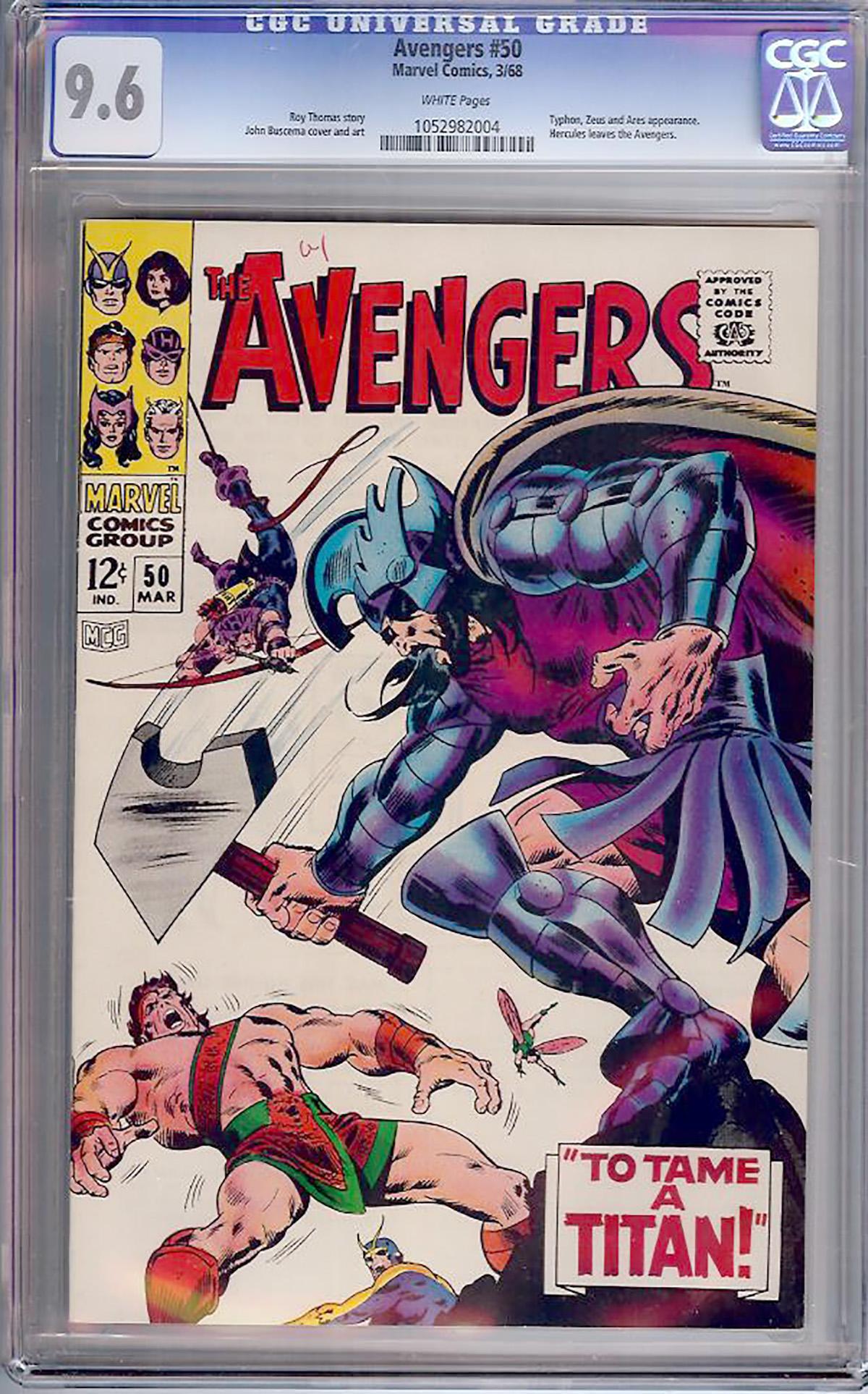 Avengers #50 CGC 9.6 w