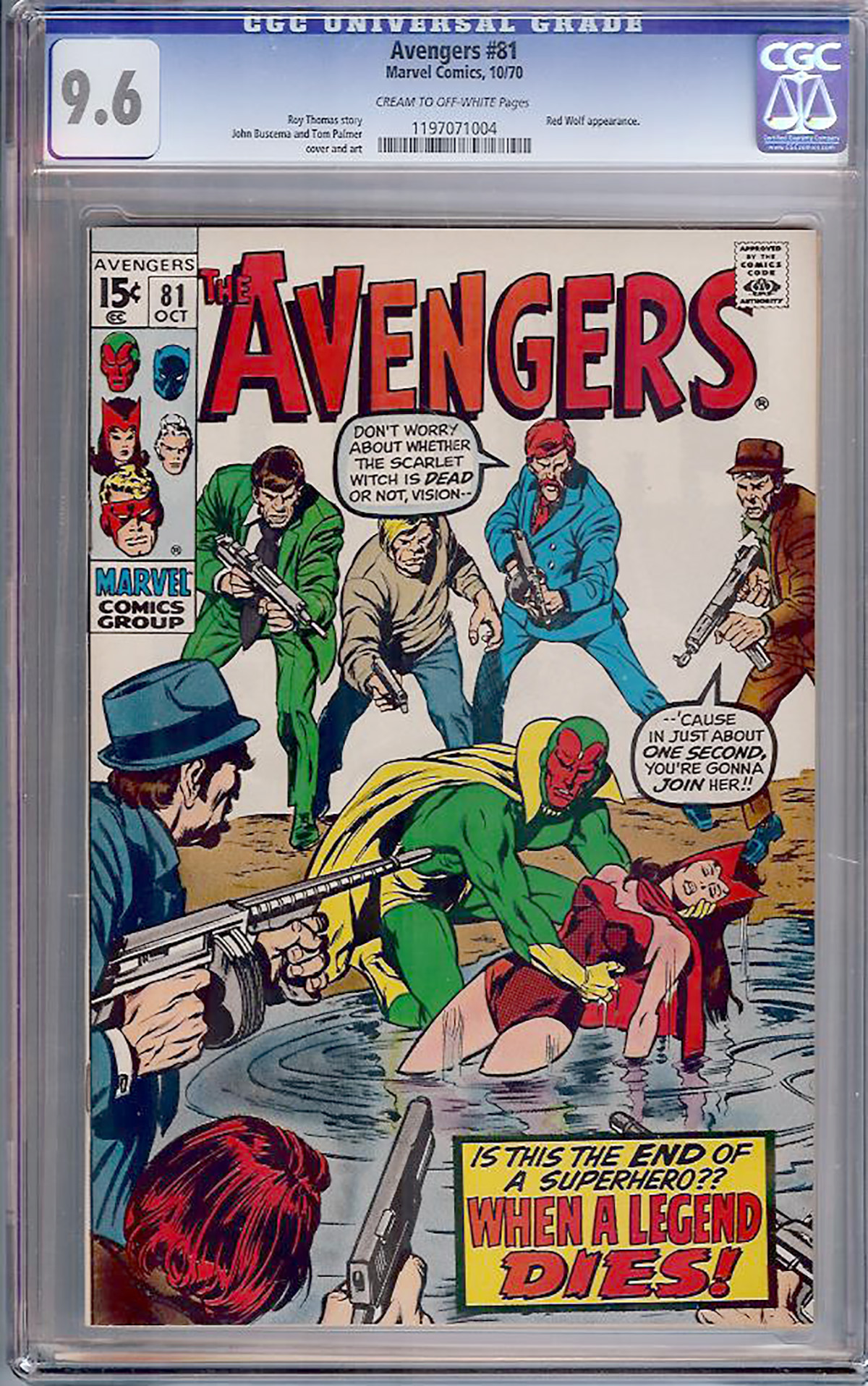 Avengers #81 CGC 9.6 cr/ow