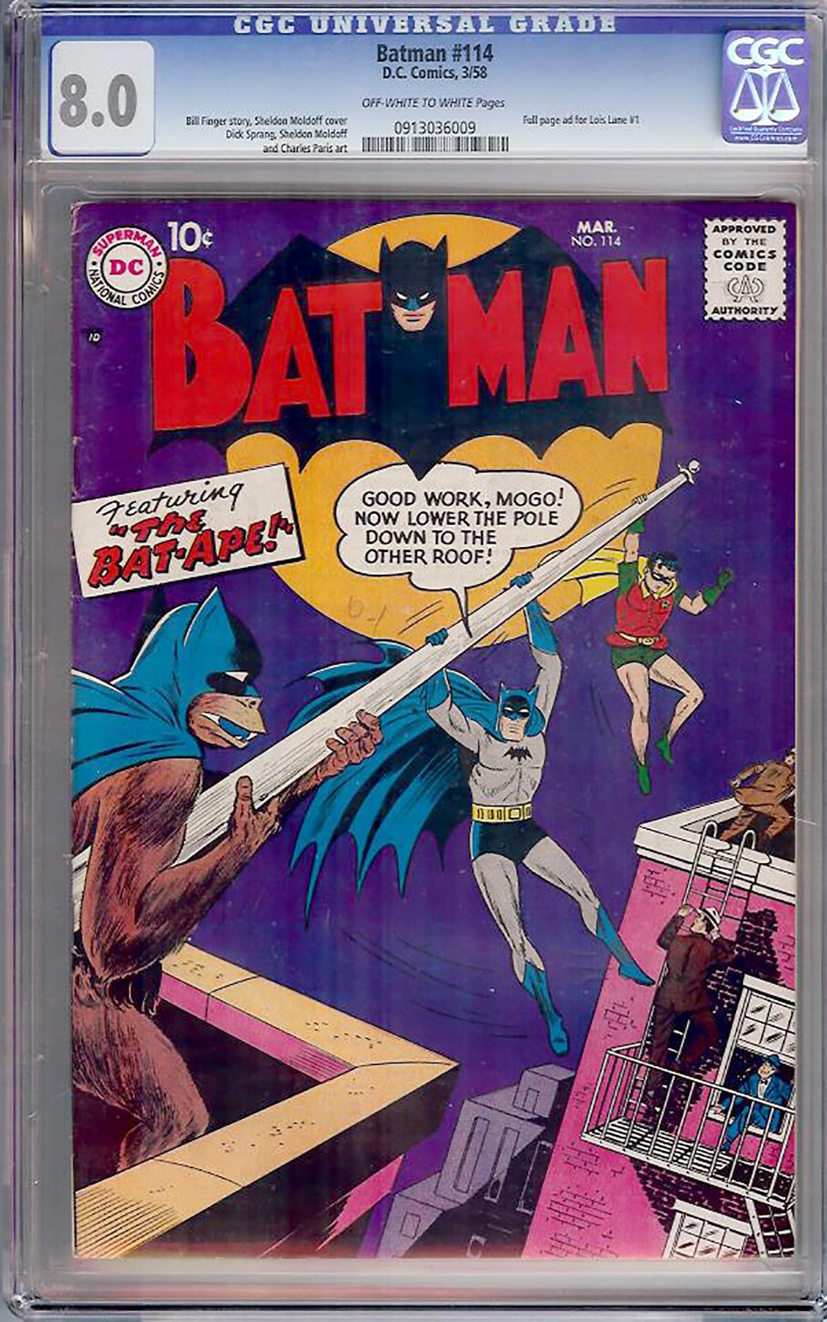 Batman #114 CGC 8.0 ow/w