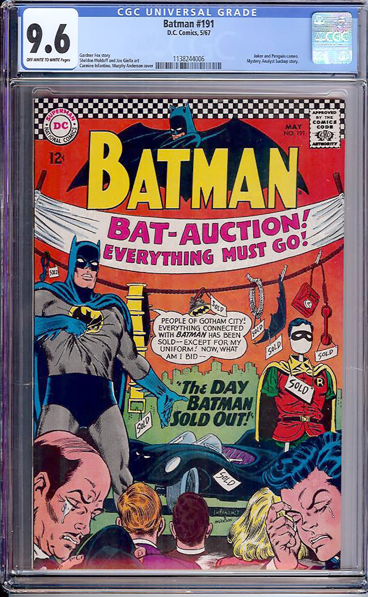 Batman #191 CGC 9.6 ow/w