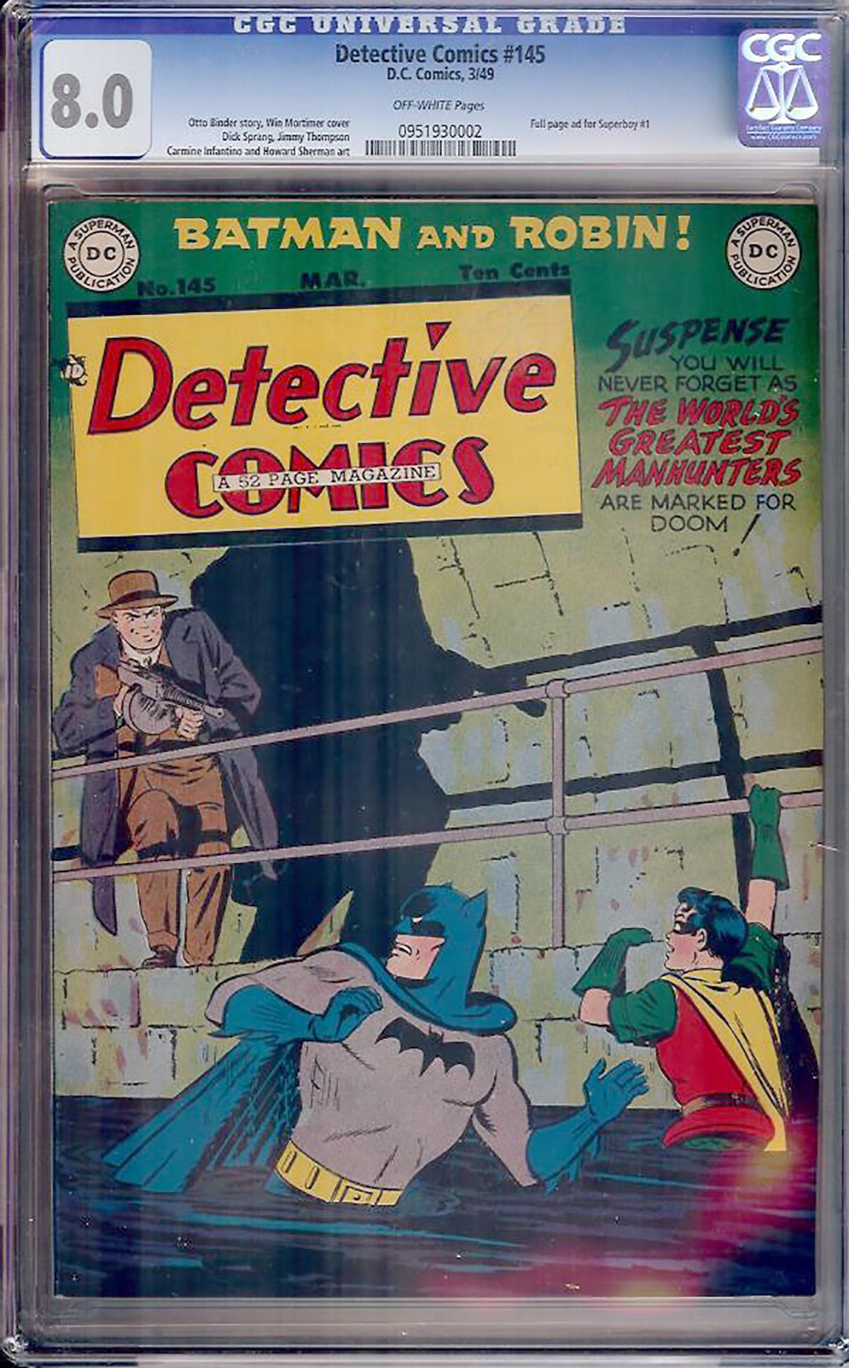 Detective Comics #145 CGC 8.0 ow