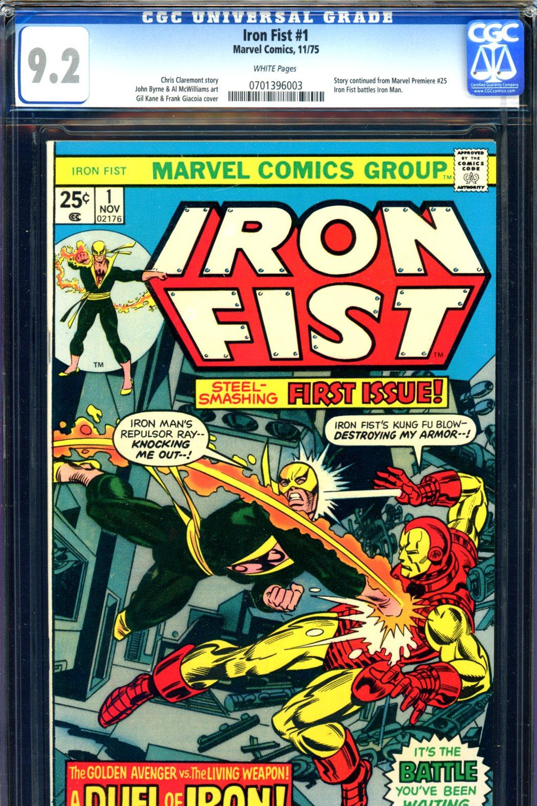 Iron Fist #1 CGC 9.2 w