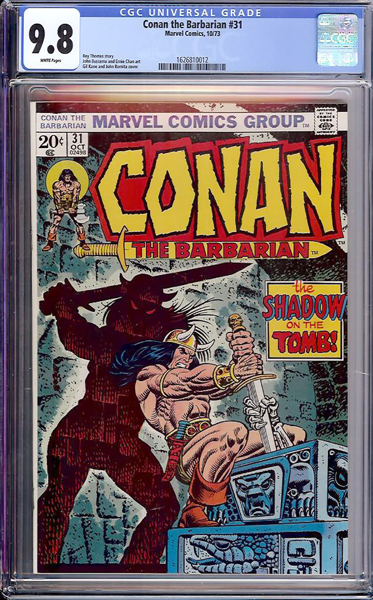 Conan The Barbarian #31 CGC 9.8 w