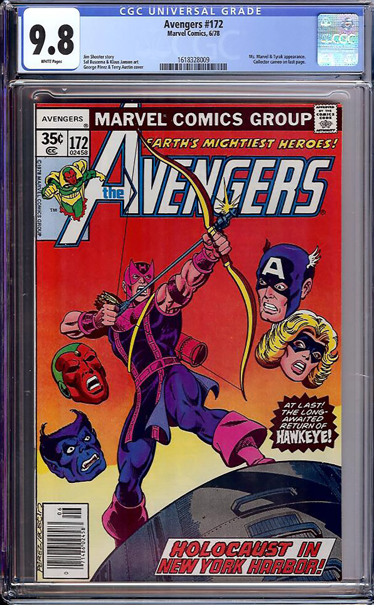 Avengers #172 CGC 9.8 w