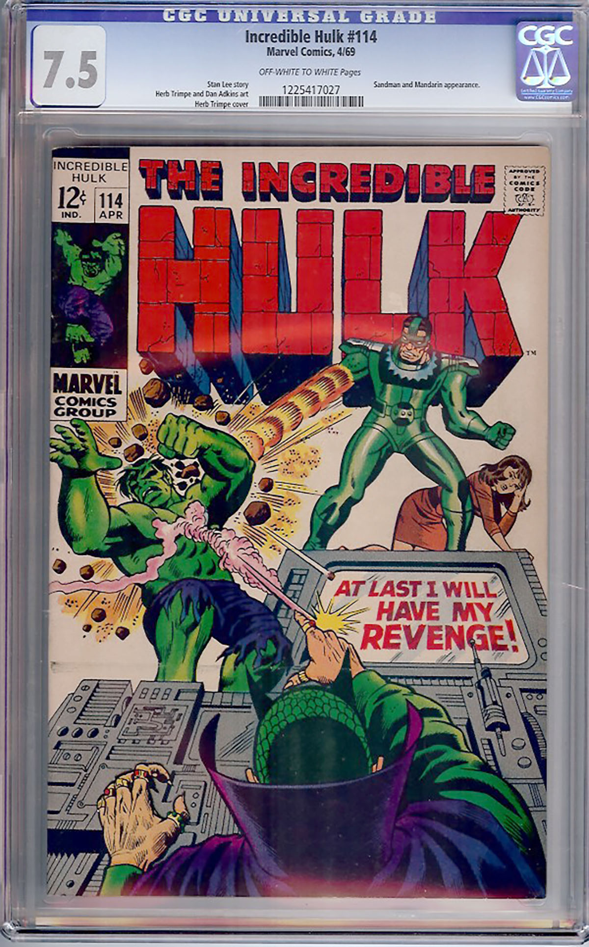 Incredible Hulk #114 CGC 7.5 ow/w