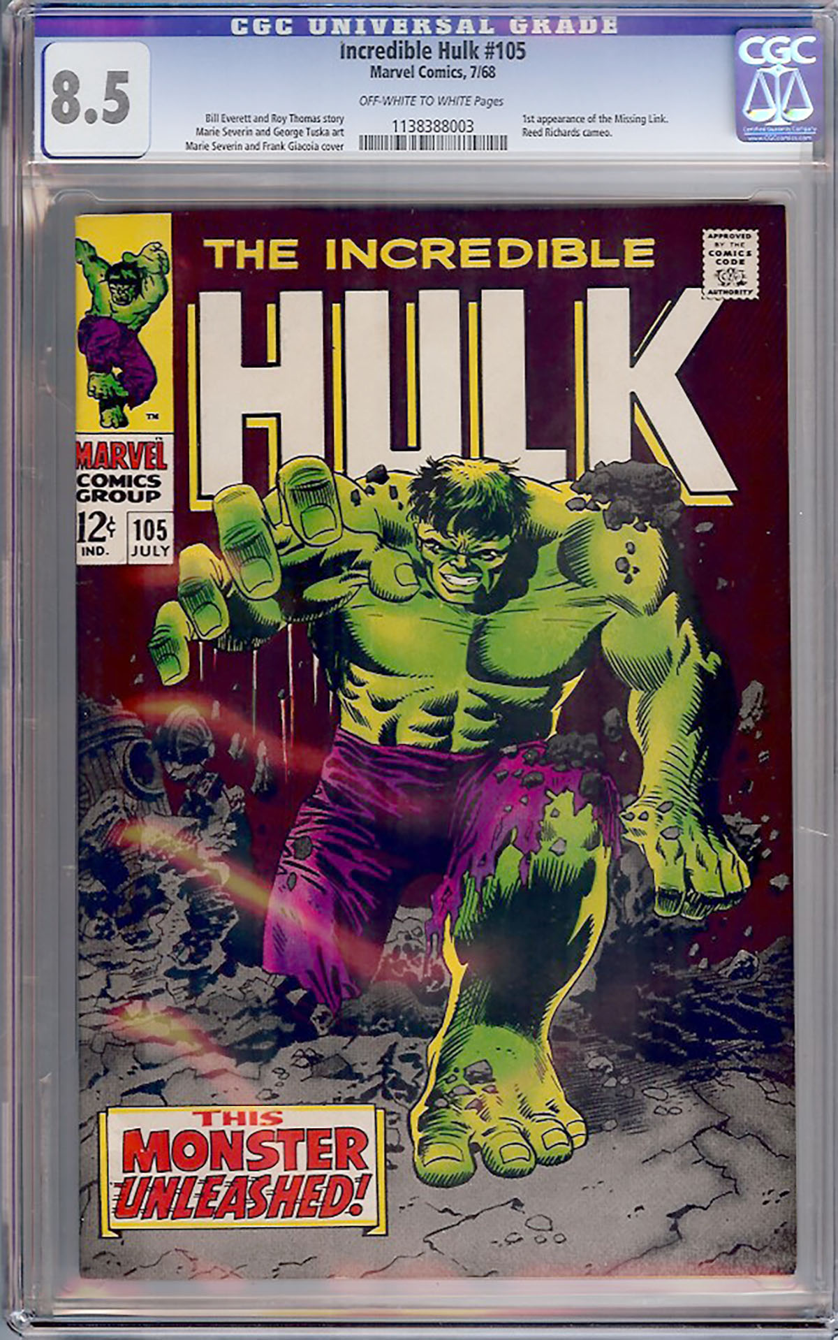 Incredible Hulk #105 CGC 8.5 ow/w