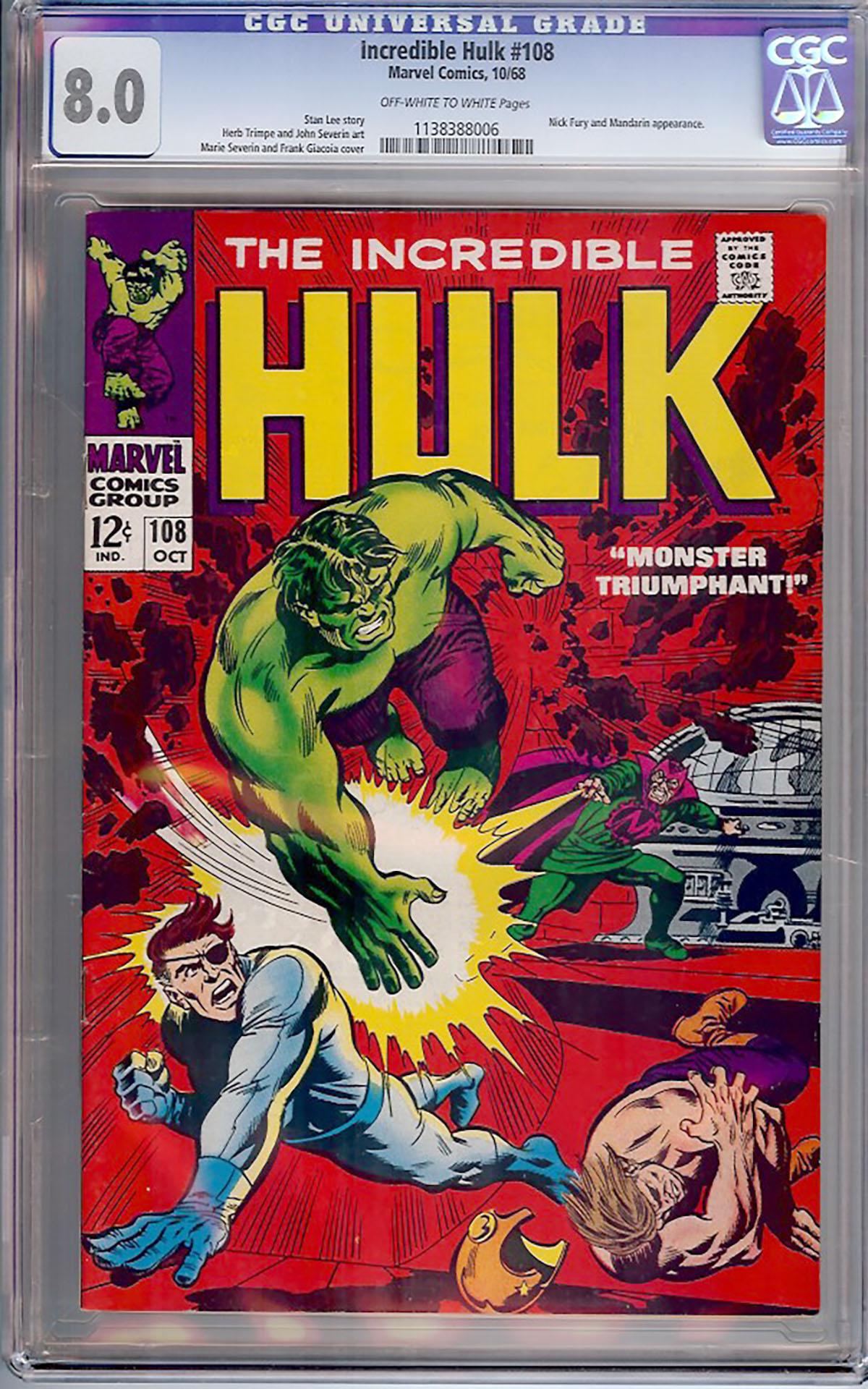 Incredible Hulk #108 CGC 8.0 ow/w