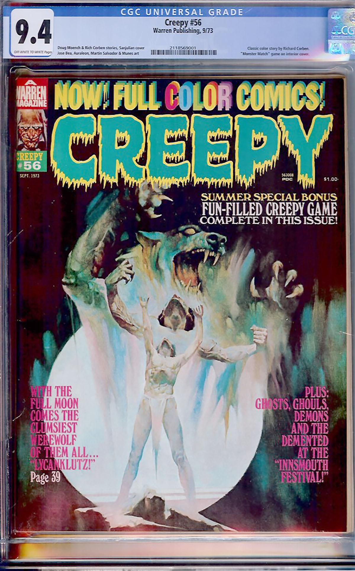 Creepy #56 CGC 9.4 ow/w