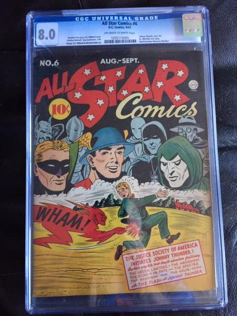 All Star Comics #6 CGC 8.0 ow/w
