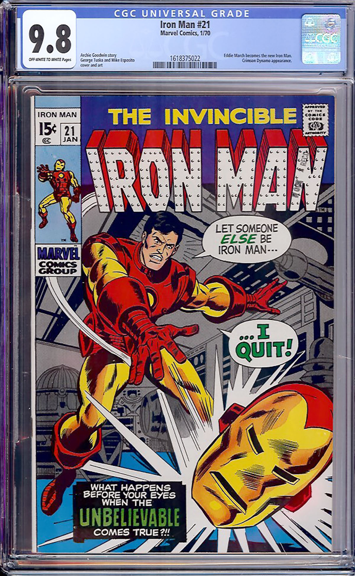 Iron Man #21 CGC 9.8 ow/w