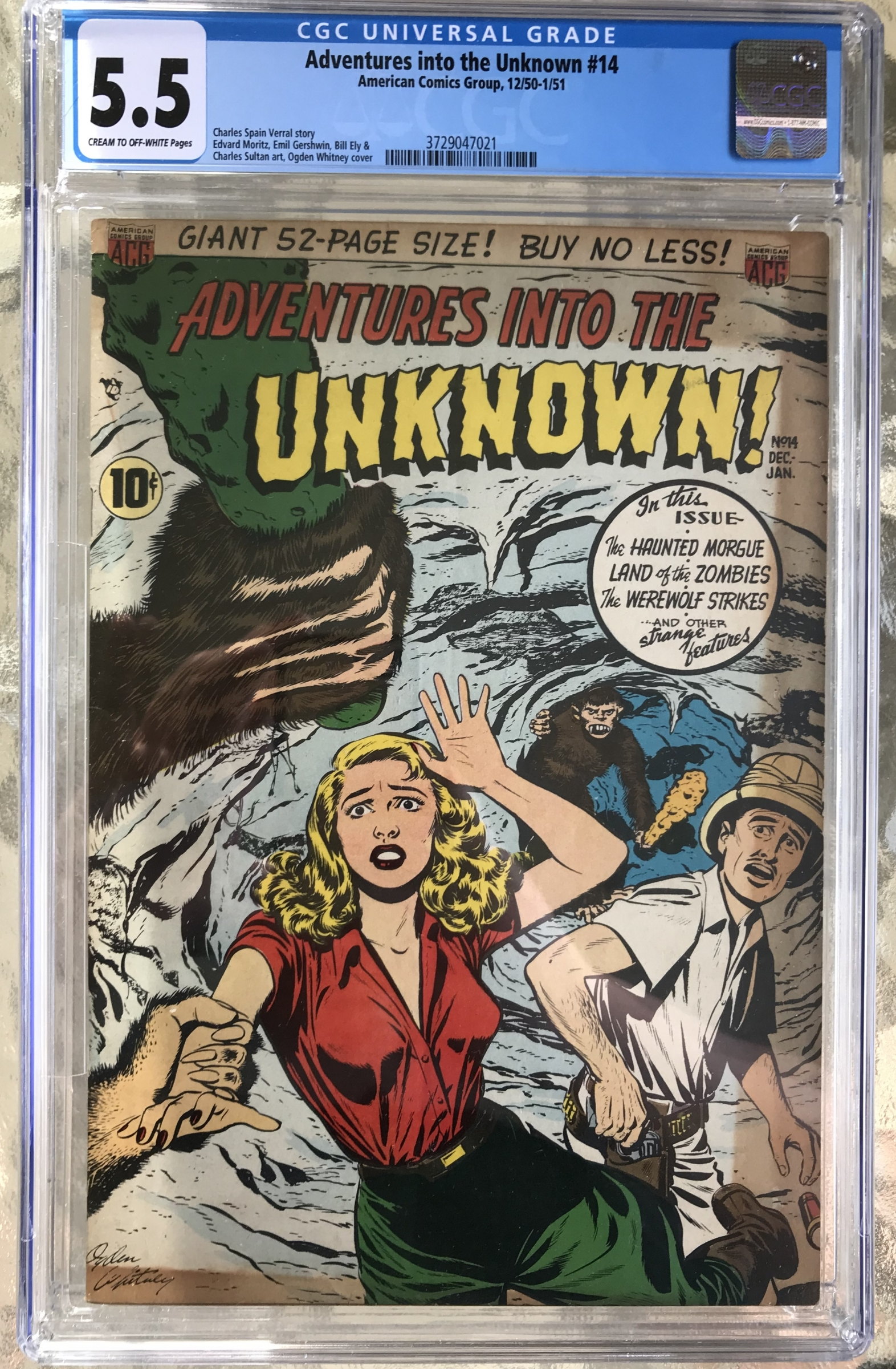 Adventures into the Unknown #14 CGC 5.5 cr/ow