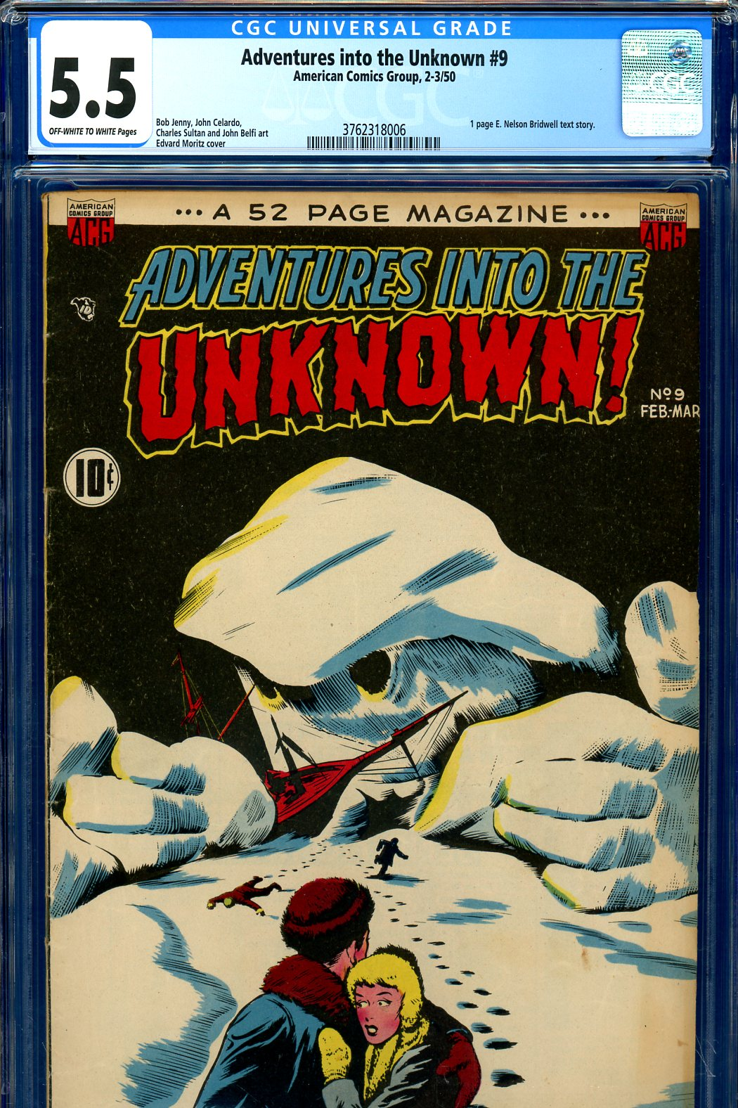 Adventures into the Unknown #9 CGC 5.5 ow/w