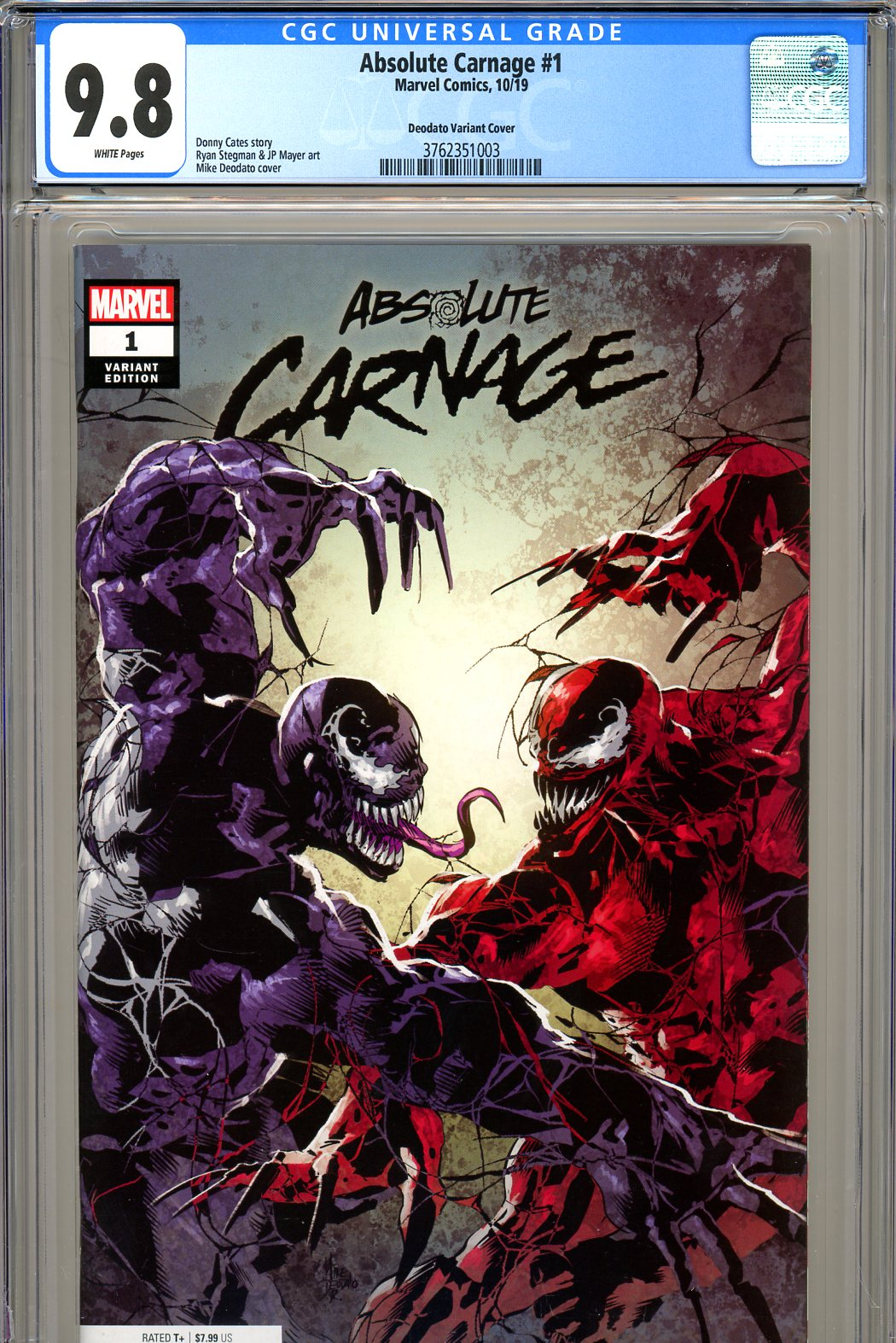 Absolute Carnage #1 CGC 9.8 w Deodato Variant Cover