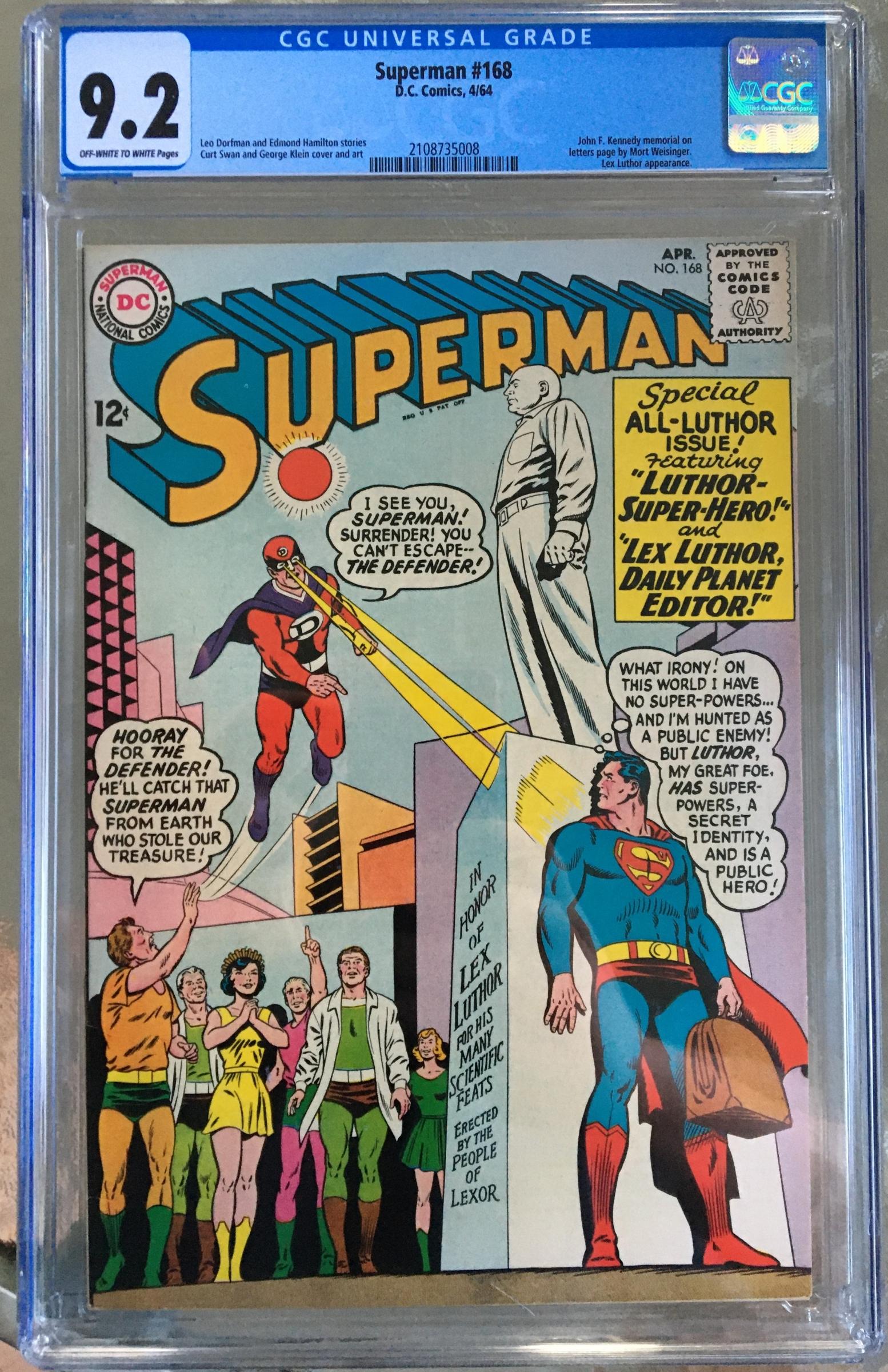 Superman #168 CGC 9.2 ow/w