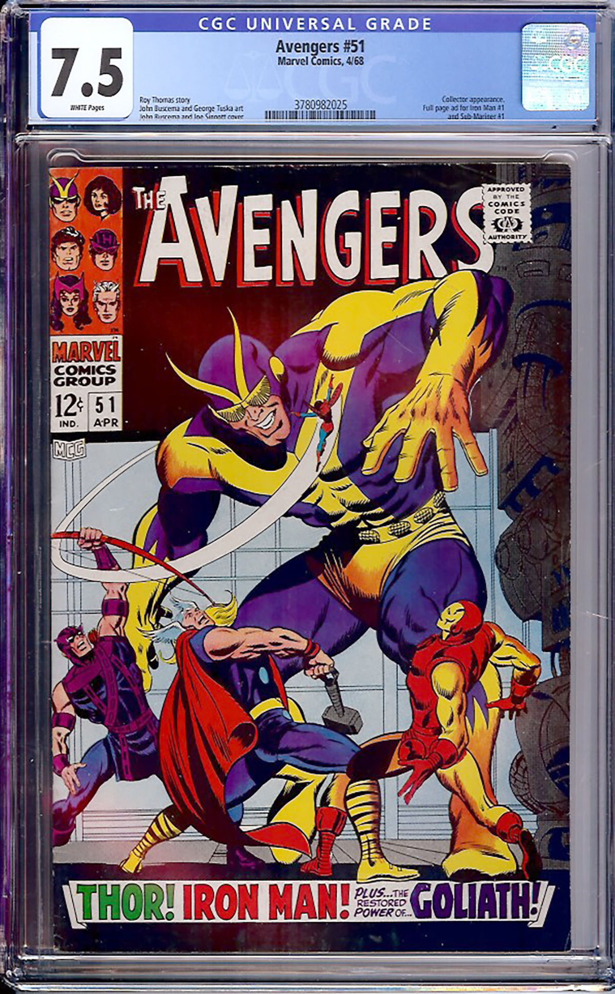 Avengers #51 CGC 7.5 w