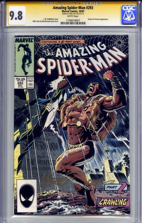 Amazing Spider-Man #293 CGC 9.8 w CGC Signature SERIES