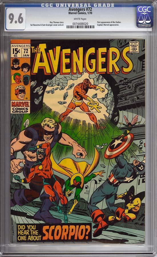 Avengers #72 CGC 9.6 w
