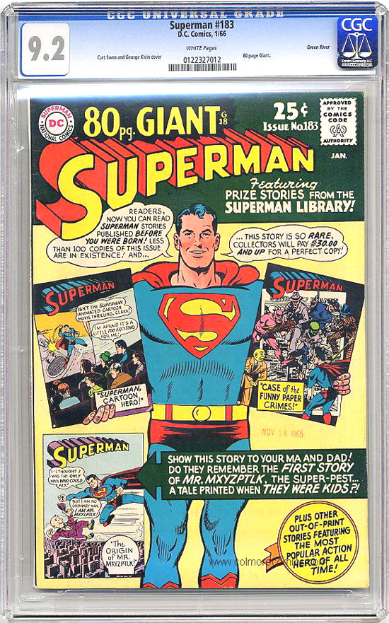 Superman #183 CGC 9.2 w Green River